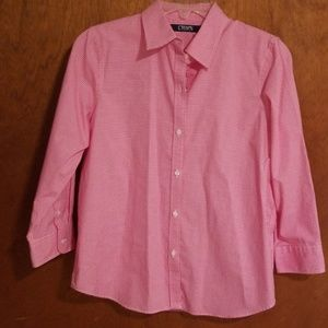 Chaps size 4P pink gingham button down shirt